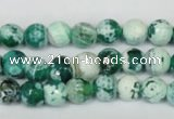 CAG1510 15.5 inches 8mm faceted round fire crackle agate beads