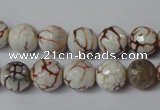 CAG1520 15.5 inches 10mm faceted round fire crackle agate beads