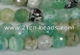 CAG1528 15.5 inches 10mm faceted round fire crackle agate beads