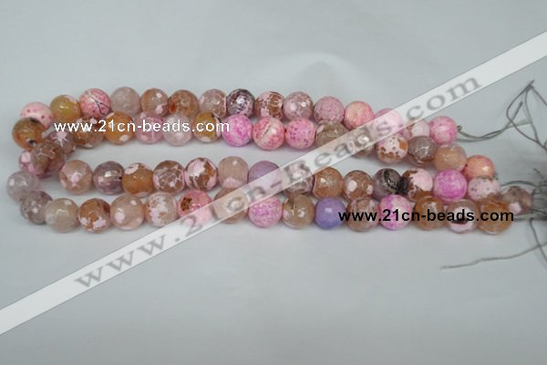 CAG1536 15.5 inches 12mm faceted round fire crackle agate beads