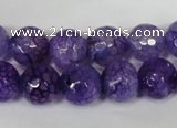 CAG1537 15.5 inches 12mm faceted round fire crackle agate beads