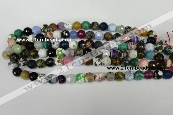 CAG1541 15.5 inches 12mm faceted round fire crackle agate beads