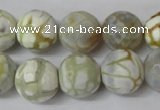 CAG1546 15.5 inches 14mm faceted round fire crackle agate beads