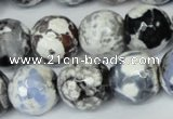 CAG1549 15.5 inches 14mm faceted round fire crackle agate beads