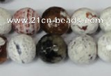 CAG1551 15.5 inches 14mm faceted round fire crackle agate beads