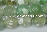 CAG1552 15.5 inches 14mm faceted round fire crackle agate beads