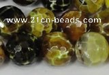 CAG1557 15.5 inches 16mm faceted round fire crackle agate beads