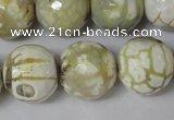CAG1565 15.5 inches 18mm faceted round fire crackle agate beads