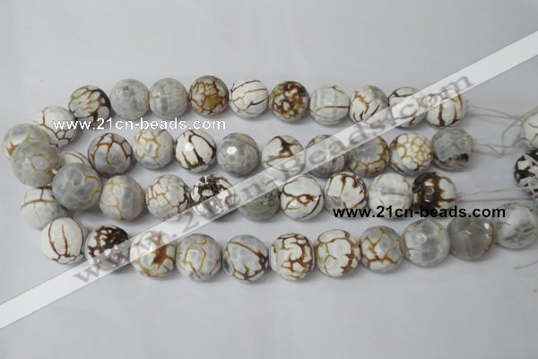 CAG1567 15.5 inches 18mm faceted round fire crackle agate beads