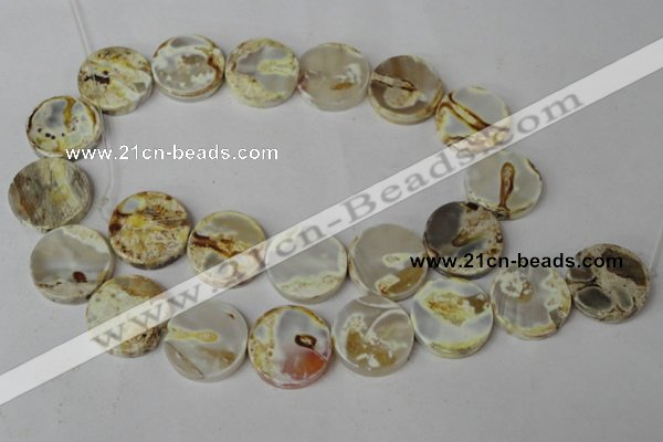 CAG1570 15.5 inches 18mm coin fire crackle agate beads wholesale