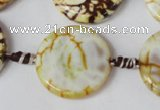 CAG1571 15.5 inches 25mm coin fire crackle agate beads wholesale