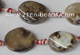 CAG1576 15.5 inches 15*20mm twisted oval fire crackle agate beads
