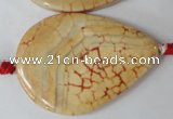 CAG1585 15.5 inches 30*45mm flat teardrop fire crackle agate beads