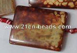CAG1587 15.5 inches 30*40mm rectangle fire crackle agate beads