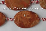 CAG1590 15.5 inches 20*30mm twisted oval fire crackle agate beads