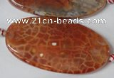 CAG1592 15.5 inches 25*50mm twisted oval fire crackle agate beads