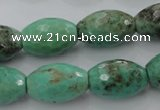 CAG1607 15.5 inches 13*20mm faceted rice green grass agate beads