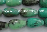 CAG1610 15.5 inches 12*20mm faceted teardrop green grass agate beads