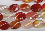 CAG1652 15.5 inches 10*14mm twisted oval red agate gemstone beads
