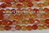 CAG1655 15.5 inches 6mm faceted round red agate gemstone beads