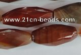 CAG1670 15.5 inches 14*30mm faceted rice red agate gemstone beads