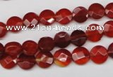 CAG1675 15.5 inches 8mm faceted coin red agate gemstone beads