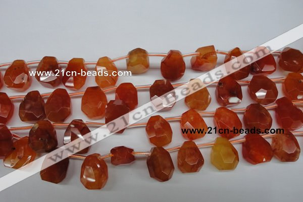 CAG1680 Top-drilled 15*18mm faceted nuggets red agate gemstone beads