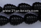 CAG1691 15.5 inches 15*20mm carved teardrop black agate beads