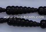 CAG1697 15.5 inches 10*35mm carved teardrop black agate beads