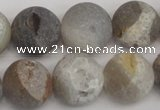 CAG1842 15.5 inches 18mm round matte druzy agate beads whholesale