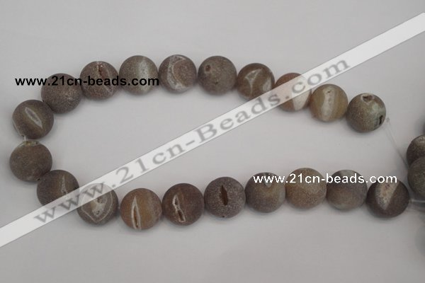 CAG1847 15.5 inches 20mm round matte druzy agate beads whholesale