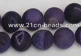 CAG1852 15.5 inches 14mm round matte druzy agate beads whholesale