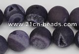 CAG1853 15.5 inches 16mm round matte druzy agate beads whholesale
