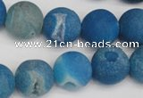 CAG1857 15.5 inches 16mm round matte druzy agate beads whholesale