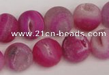CAG1861 15.5 inches 14mm round matte druzy agate beads whholesale