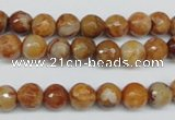 CAG1886 15.5 inches 8mm faceted round lemon crazy lace agate beads