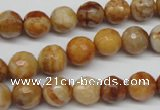 CAG1887 15.5 inches 10mm faceted round lemon crazy lace agate beads
