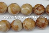 CAG1889 15.5 inches 14mm faceted round lemon crazy lace agate beads