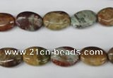 CAG2021 15.5 inches 10*14mm oval rainbow agate beads wholesale