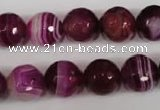 CAG2088 15.5 inches 12mm faceted round fuchsia line agate beads