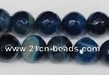 CAG2106 15.5 inches 12mm faceted round blue line agate beads