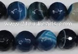 CAG2107 15.5 inches 14mm faceted round blue line agate beads