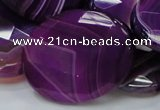 CAG211 15.5 inches 30*40mm faceted oval purple agate gemstone beads