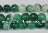 CAG2114 15.5 inches 10mm faceted round green line agate beads