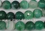 CAG2115 15.5 inches 12mm faceted round green line agate beads