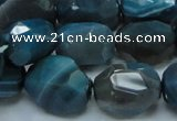 CAG217 15.5 inches 15*20mm faceted nugget blue agate gemstone beads