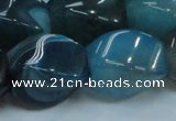 CAG221 15.5 inches 17*25mm twisted blue agate gemstone beads