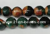 CAG2224 15.5 inches 12mm faceted round fire crackle agate beads