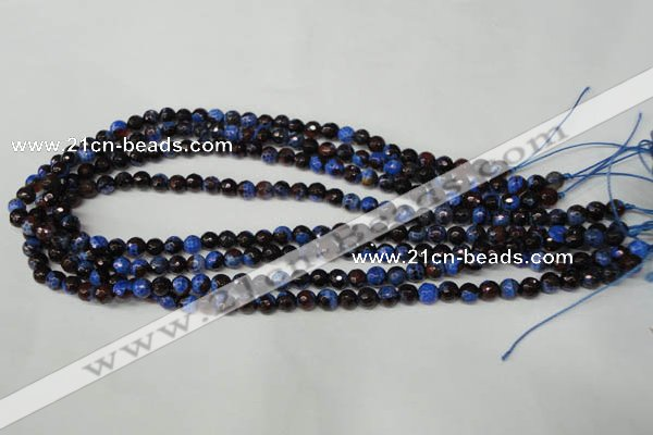 CAG2231 15.5 inches 6mm faceted round fire crackle agate beads