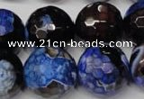 CAG2238 15.5 inches 20mm faceted round fire crackle agate beads